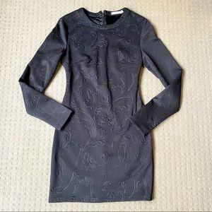 Mossman black Long sleeve embossed mini dress AU8